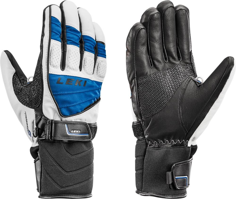 Białe, niebieskie rękawice narciarskie Leki Griffin S blue