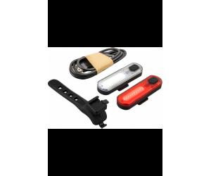 Zestaw lamp rowerowych Mactronic DuoSlim, 60 lm/18 lm, zestaw (akumulatory, uchwyty, kabel USB), blister