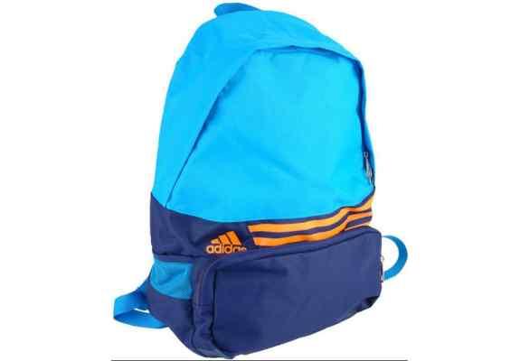 Plecak Adidas F49883 niebiesko granatowy, pomarańczowe logo