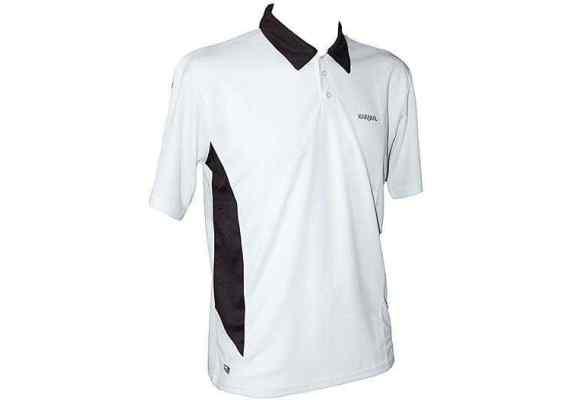 Koszulka Karakal Leon Button Polo Biało-czarna