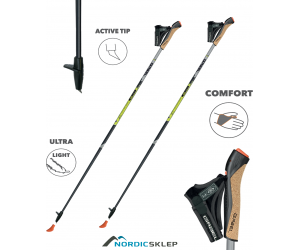 Gabel X-5 Carbon 85% Black - lekkie kije do nordic walkingu.
